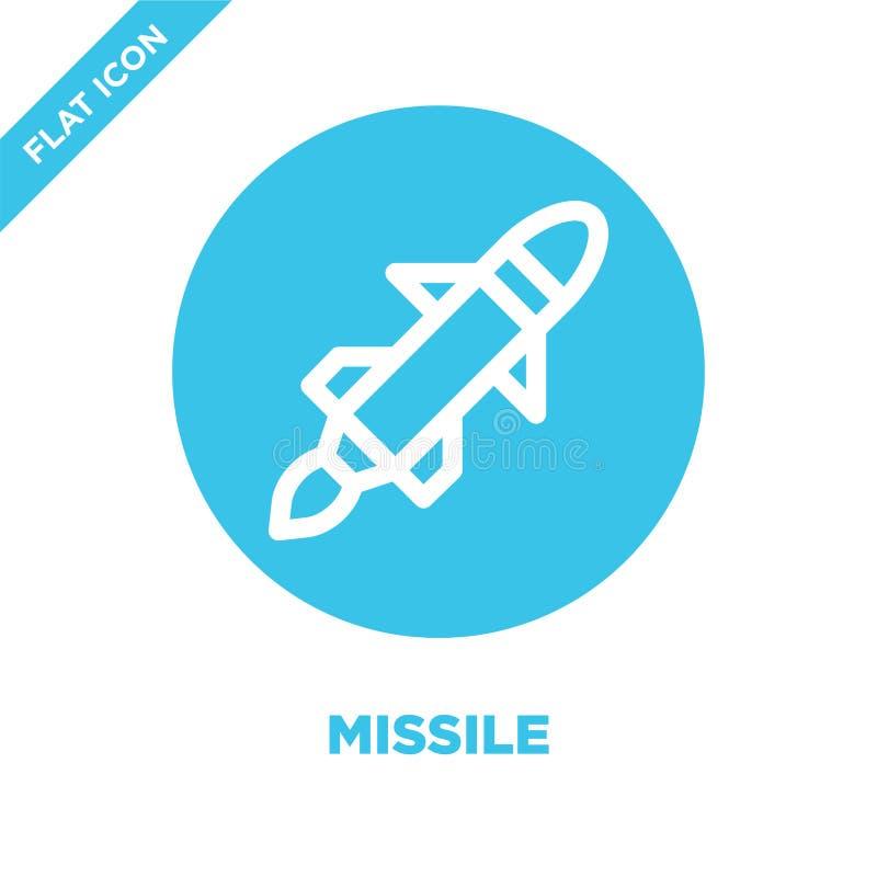 vettore dell'icona del missile Linea sottile illustrazione di vettore dell'icona del profilo del missile simbolo del missile per  royalty illustrazione gratis