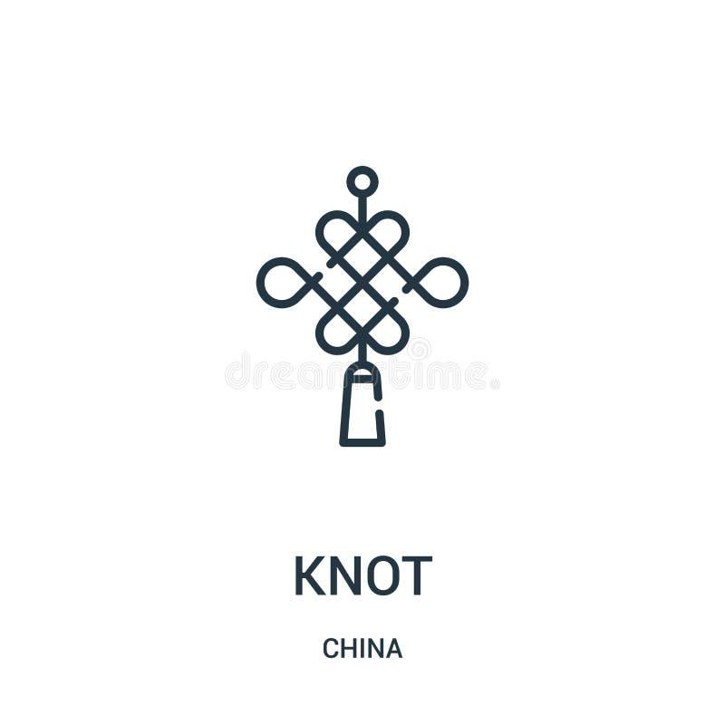 vettore dell'icona del nodo dalla raccolta della porcellana Linea sottile illustrazione di vettore dell'icona del profilo del nod illustrazione di stock