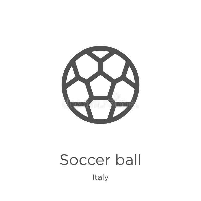 vettore dell'icona del pallone da calcio dalla raccolta dell'Italia Linea sottile illustrazione di vettore dell'icona del profilo illustrazione di stock
