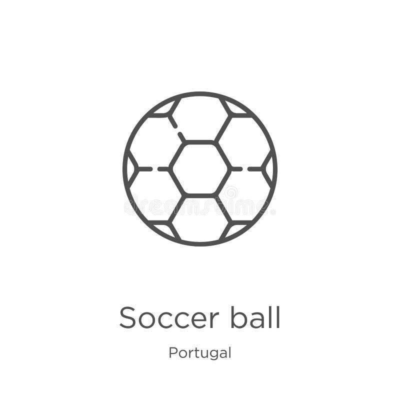 vettore dell'icona del pallone da calcio dalla raccolta del Portogallo Linea sottile illustrazione di vettore dell'icona del prof illustrazione di stock