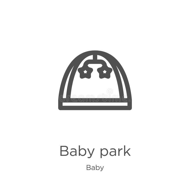 vettore dell'icona del parco del bambino dalla raccolta del bambino Linea sottile illustrazione di vettore dell'icona del profilo illustrazione vettoriale