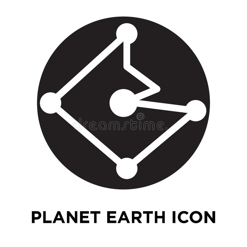 Vettore dell'icona del pianeta Terra isolato su fondo bianco, logo concentrato illustrazione vettoriale
