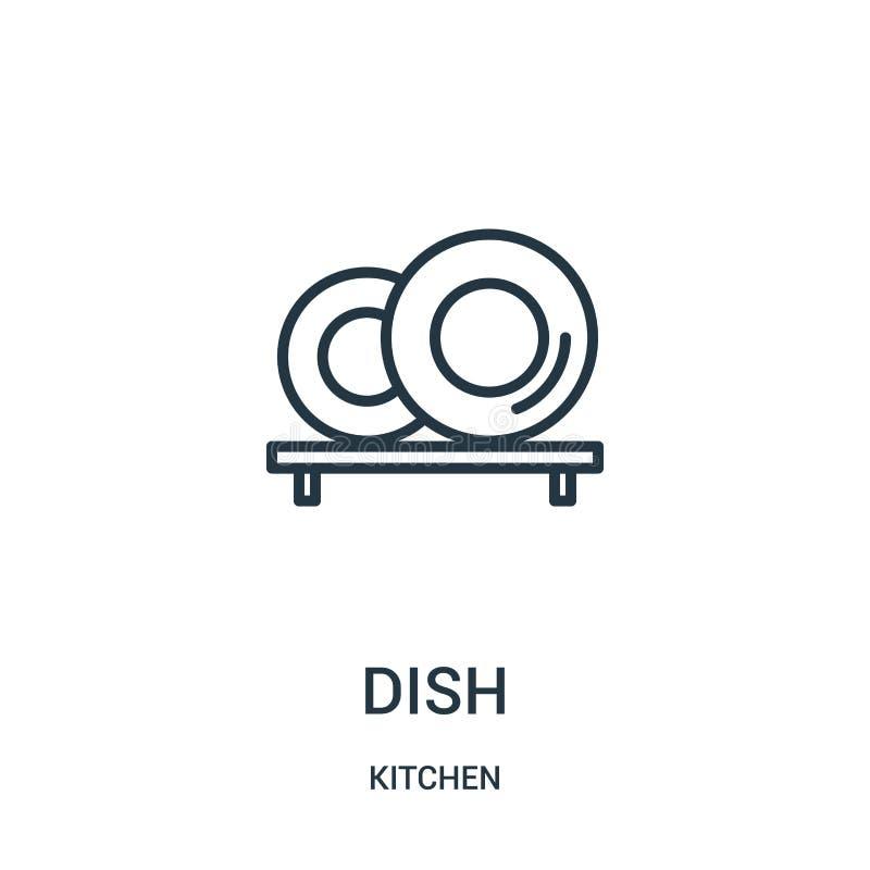 vettore dell'icona del piatto dalla raccolta della cucina Linea sottile illustrazione di vettore dell'icona del profilo del piatt illustrazione di stock