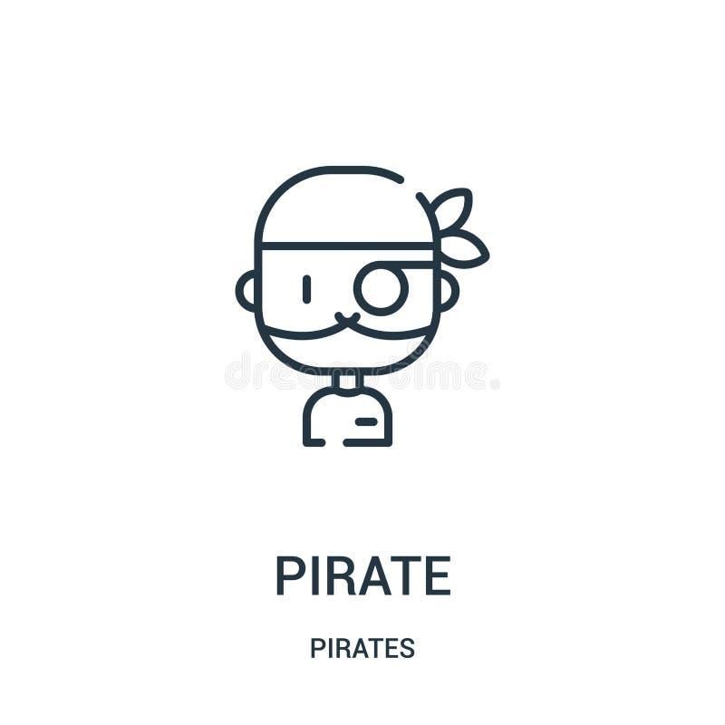 vettore dell'icona del pirata dalla raccolta dei pirati Linea sottile illustrazione di vettore dell'icona del profilo del pirata  royalty illustrazione gratis