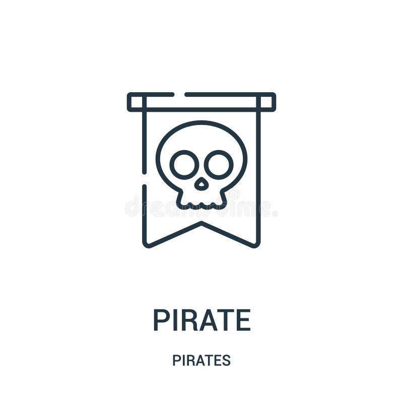 vettore dell'icona del pirata dalla raccolta dei pirati Linea sottile illustrazione di vettore dell'icona del profilo del pirata  illustrazione vettoriale