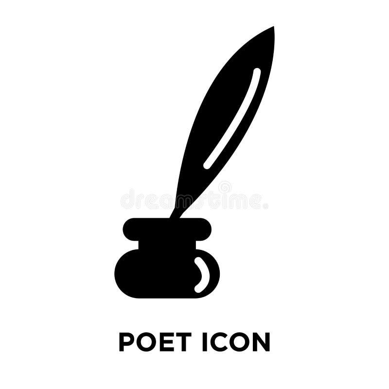 Vettore dell'icona del poeta isolato su fondo bianco, concetto di logo della P illustrazione di stock