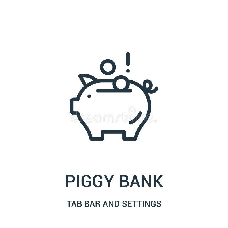 vettore dell'icona del porcellino salvadanaio dalla barra della linguetta e dalla raccolta delle regolazioni Linea sottile illust illustrazione di stock