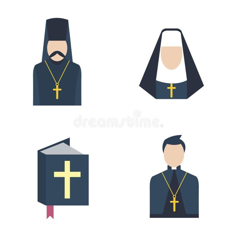 Vettore dell'icona del prete cattolico illustrazione di stock