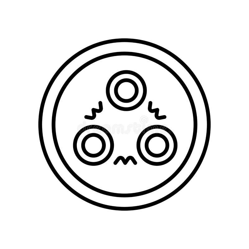 Vettore dell'icona del quark isolato su fondo, sul segno del quark, sul segno e sui simboli bianchi nello stile lineare sottile d illustrazione di stock