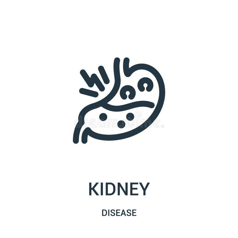 vettore dell'icona del rene dalla raccolta di malattia Linea sottile illustrazione di vettore dell'icona del profilo del rene Sim illustrazione di stock