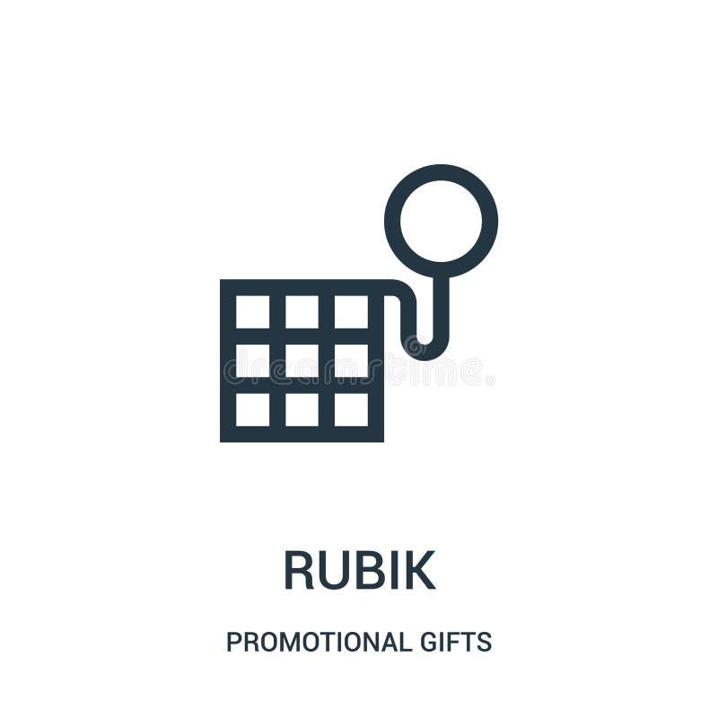 vettore dell'icona del rubik dalla raccolta promozionale dei regali Linea sottile illustrazione di vettore dell'icona del profilo illustrazione di stock