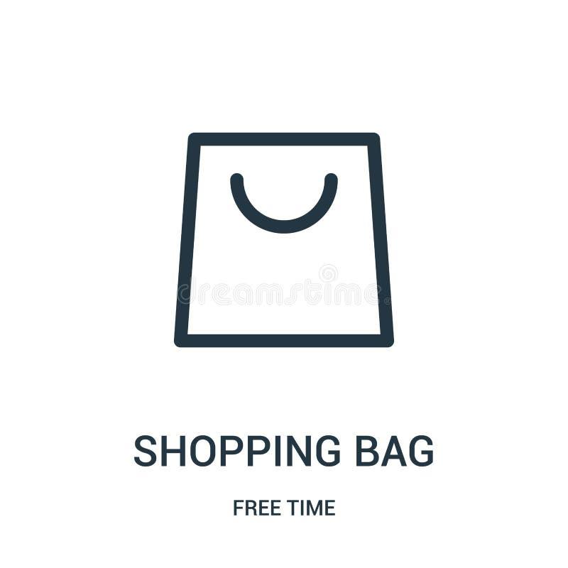 vettore dell'icona del sacchetto della spesa dalla raccolta di tempo libero Linea sottile illustrazione di vettore dell'icona del illustrazione di stock