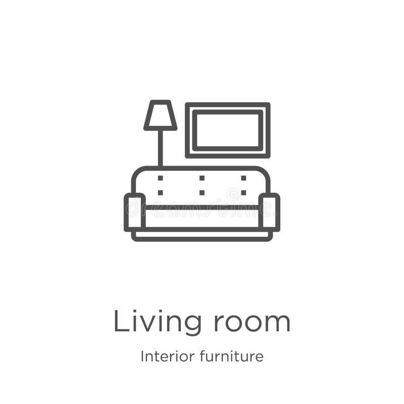vettore dell'icona del salone dalla raccolta interna della mobilia Linea sottile illustrazione di vettore dell'icona del profilo  illustrazione di stock