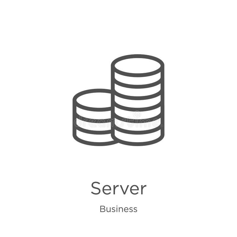 vettore dell'icona del server dalla raccolta di affari Linea sottile illustrazione di vettore dell'icona del profilo del server P illustrazione vettoriale