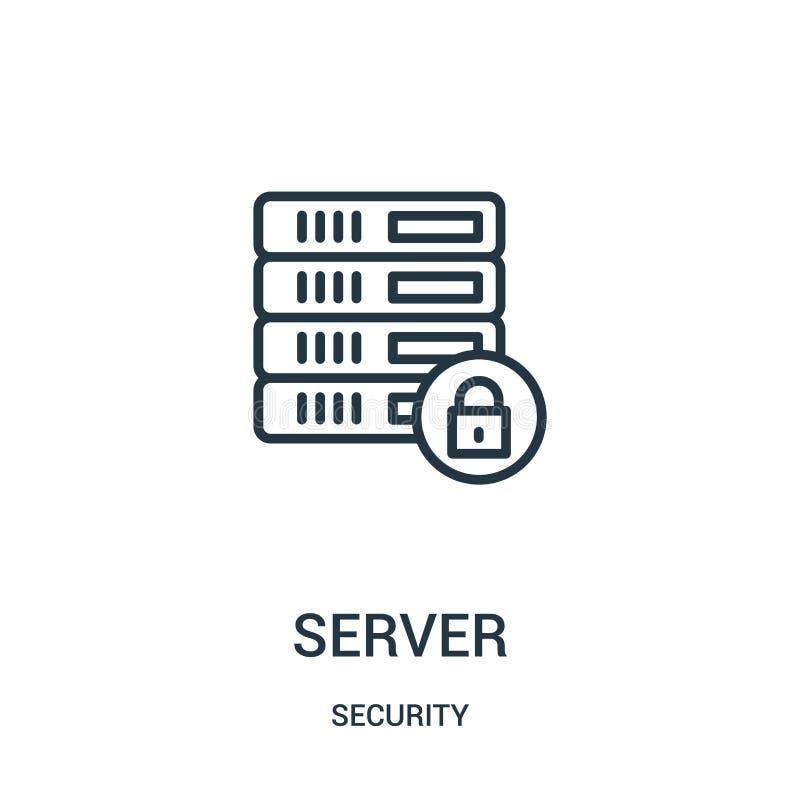 vettore dell'icona del server dalla raccolta di sicurezza Linea sottile illustrazione di vettore dell'icona del profilo del serve royalty illustrazione gratis
