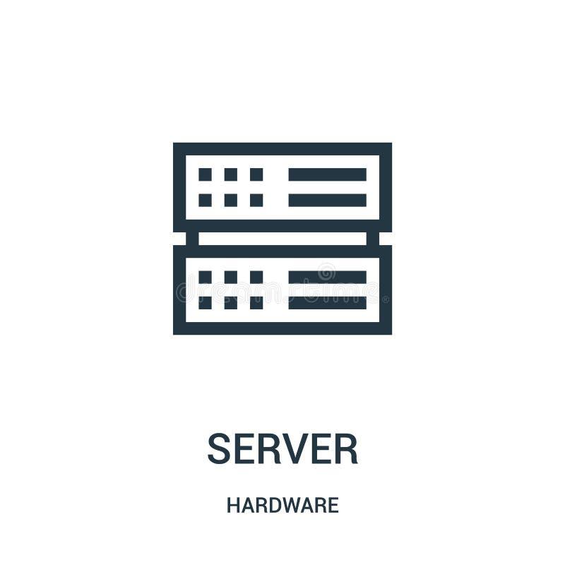 vettore dell'icona del server dalla raccolta dell'hardware Linea sottile illustrazione di vettore dell'icona del profilo del serv royalty illustrazione gratis