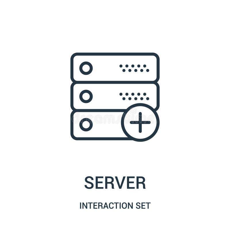vettore dell'icona del server dalla raccolta dell'insieme di interazione Linea sottile illustrazione di vettore dell'icona del pr royalty illustrazione gratis