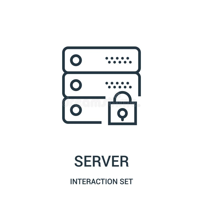 vettore dell'icona del server dalla raccolta dell'insieme di interazione Linea sottile illustrazione di vettore dell'icona del pr illustrazione vettoriale