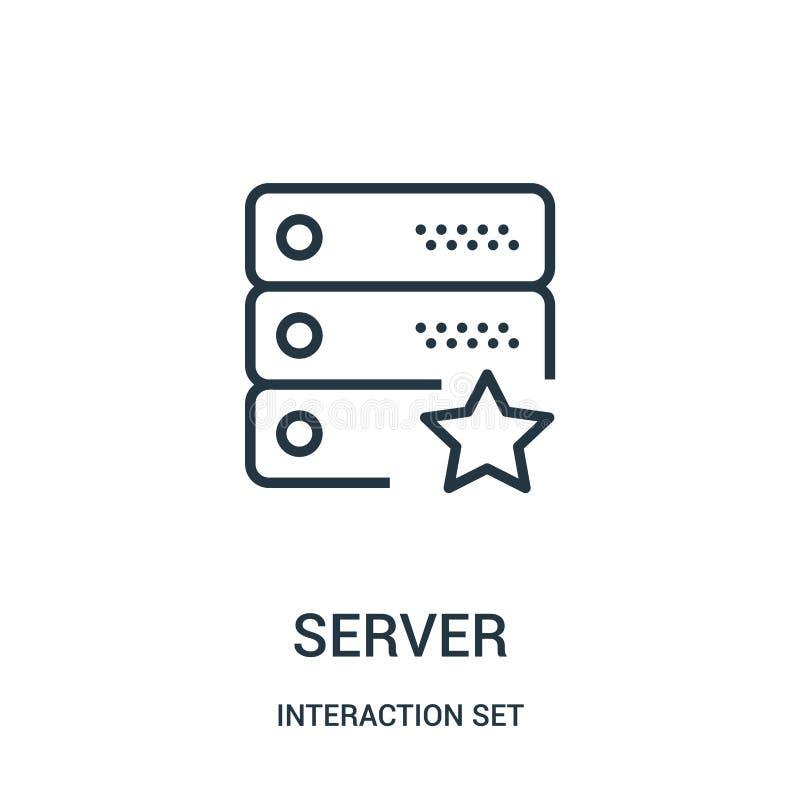 vettore dell'icona del server dalla raccolta dell'insieme di interazione Linea sottile illustrazione di vettore dell'icona del pr illustrazione di stock