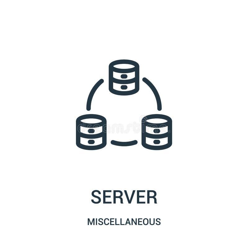 vettore dell'icona del server dalla raccolta varia Linea sottile illustrazione di vettore dell'icona del profilo del server Simbo illustrazione di stock
