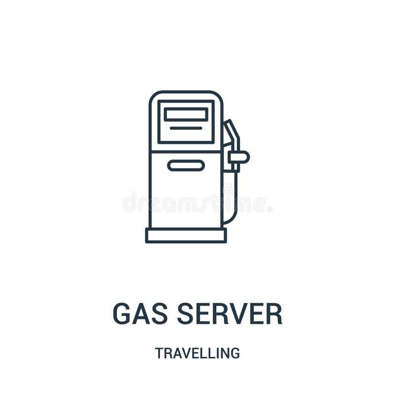 vettore dell'icona del server del gas dalla raccolta di viaggio Linea sottile illustrazione di vettore dell'icona del profilo del illustrazione di stock