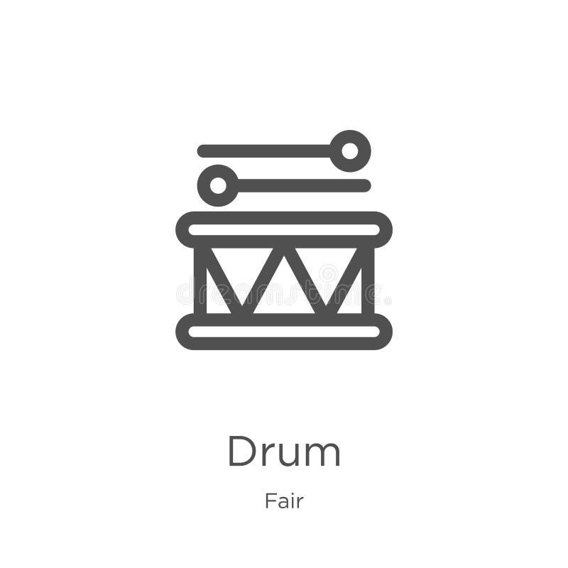 vettore dell'icona del tamburo dalla raccolta giusta Linea sottile illustrazione di vettore dell'icona del profilo del tamburo Pr illustrazione di stock
