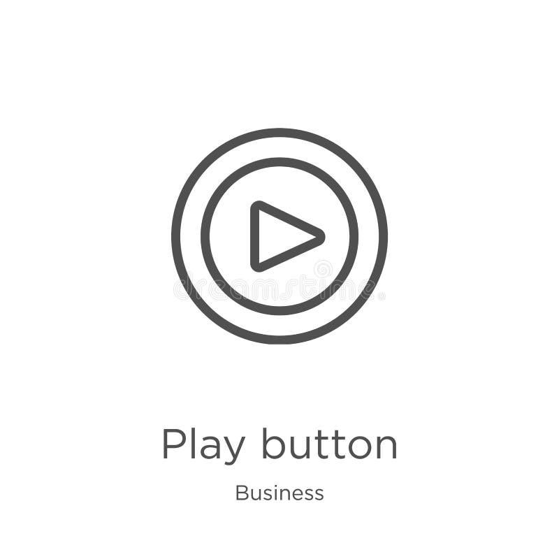vettore dell'icona del tasto di riproduzione dalla raccolta di affari Linea sottile illustrazione di vettore dell'icona del profi illustrazione di stock