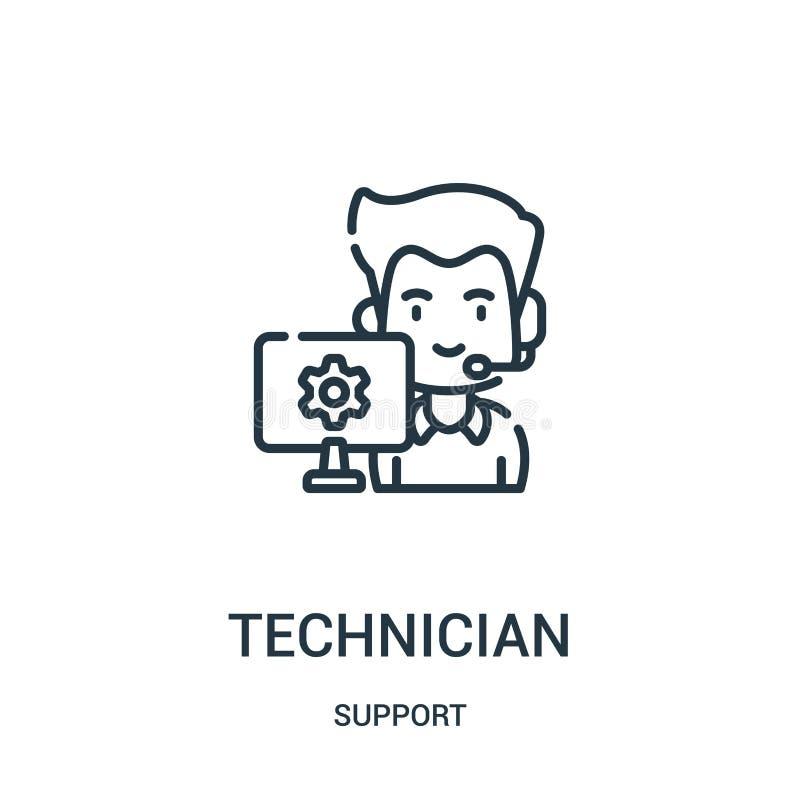 vettore dell'icona del tecnico dalla raccolta di sostegno Linea sottile illustrazione di vettore dell'icona del profilo del tecni illustrazione di stock