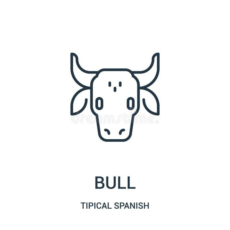 vettore dell'icona del toro dalla raccolta spagnola tipical Linea sottile illustrazione di vettore dell'icona del profilo del tor royalty illustrazione gratis