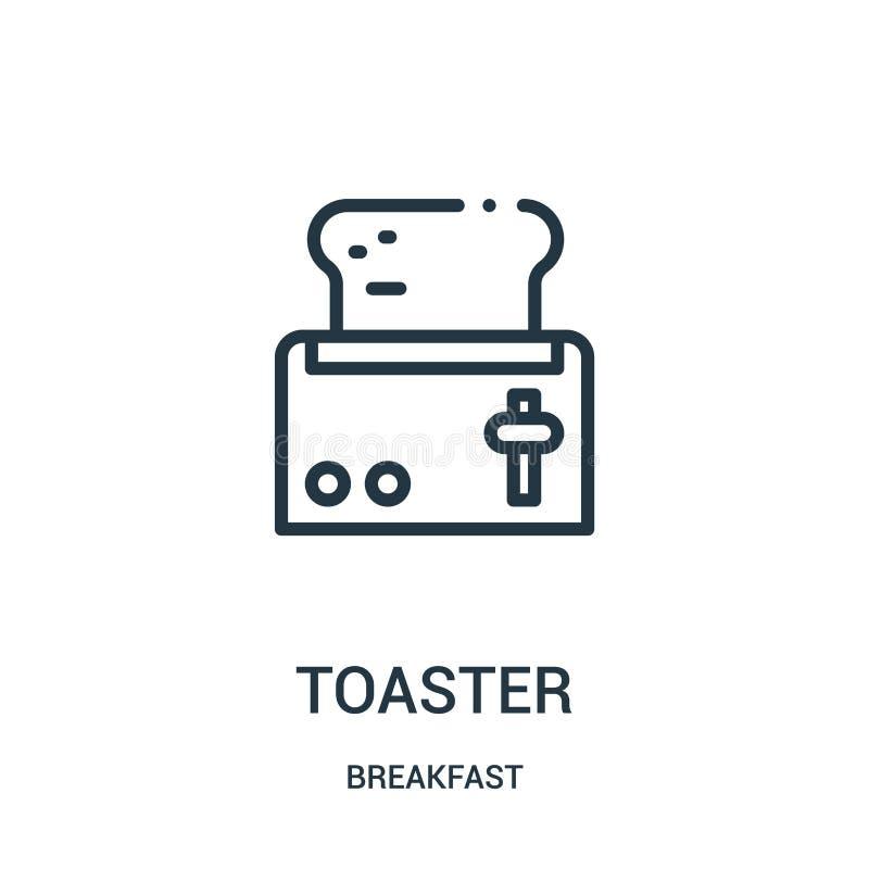 vettore dell'icona del tostapane dalla raccolta della prima colazione Linea sottile illustrazione di vettore dell'icona del profi royalty illustrazione gratis