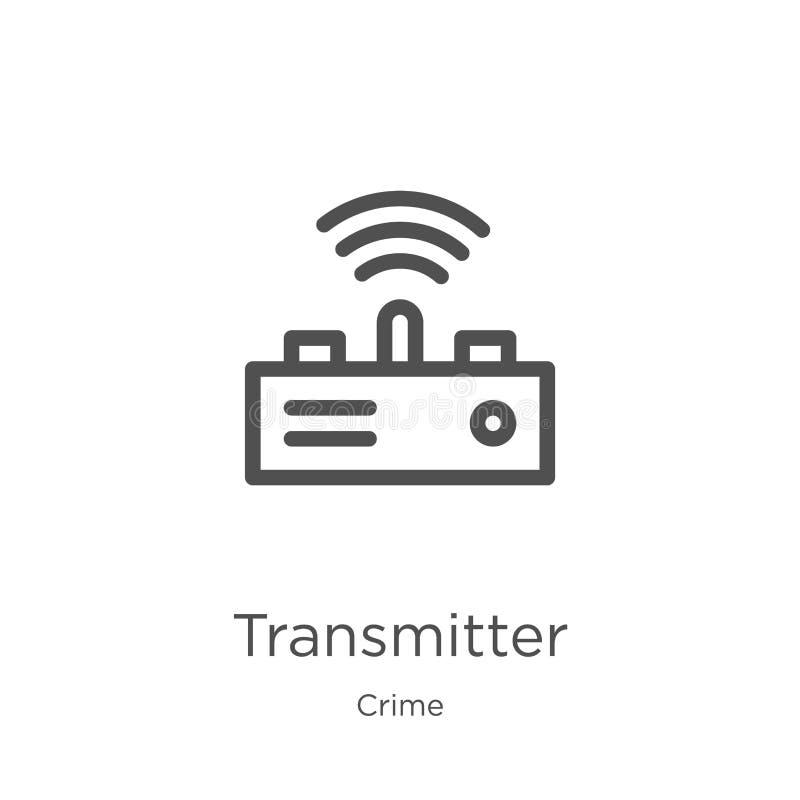 vettore dell'icona del trasmettitore dalla raccolta di crimine Linea sottile illustrazione di vettore dell'icona del profilo del  royalty illustrazione gratis