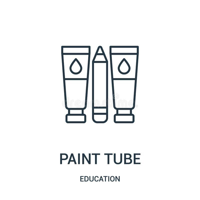 vettore dell'icona del tubo della pittura dalla raccolta di istruzione Linea sottile illustrazione di vettore dell'icona del prof illustrazione di stock