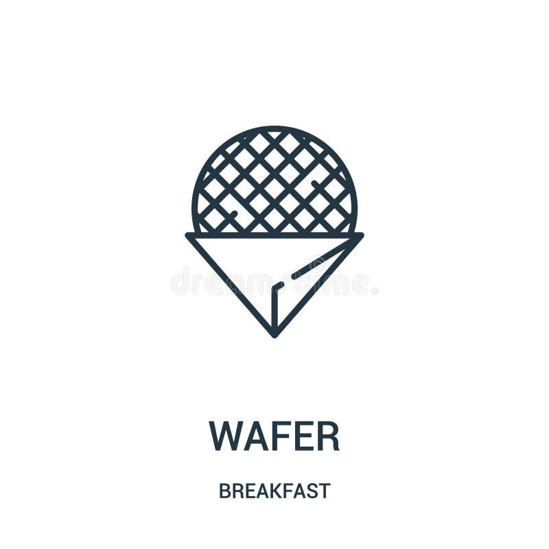 vettore dell'icona del wafer dalla raccolta della prima colazione Linea sottile illustrazione di vettore dell'icona del profilo d illustrazione di stock
