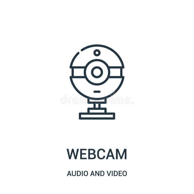 vettore dell'icona del webcam dall'audio e video raccolta Linea sottile illustrazione di vettore dell'icona del profilo del webca illustrazione vettoriale