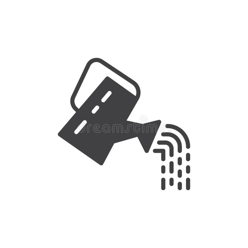 Vettore dell'icona dell'annaffiatoio, segno piano riempito, pittogramma solido isolato su bianco Simbolo, illustrazione di logo royalty illustrazione gratis