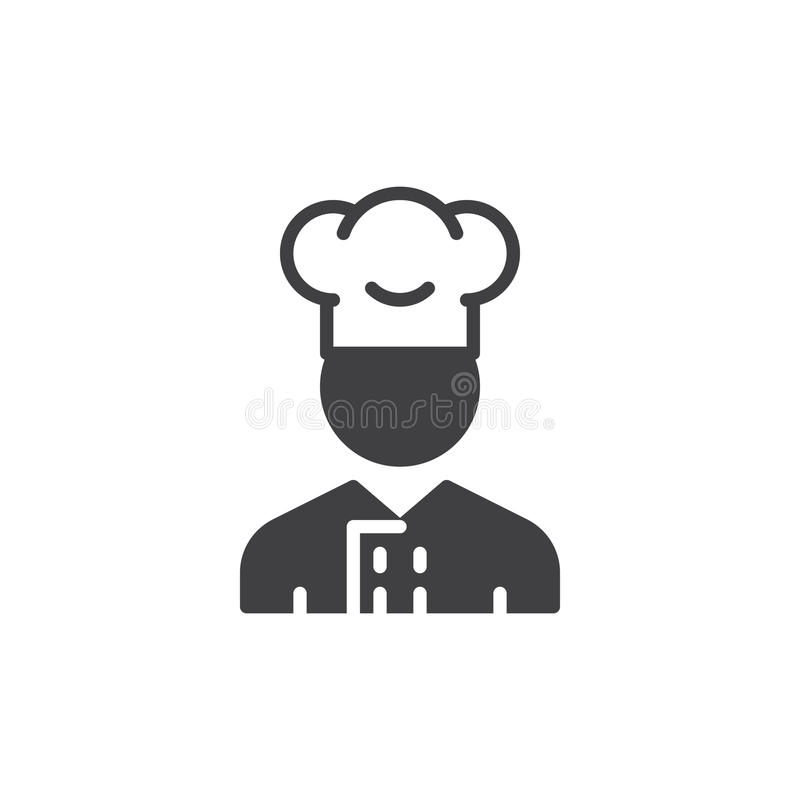 Vettore dell'icona dell'uomo del fornello, segno piano riempito illustrazione vettoriale