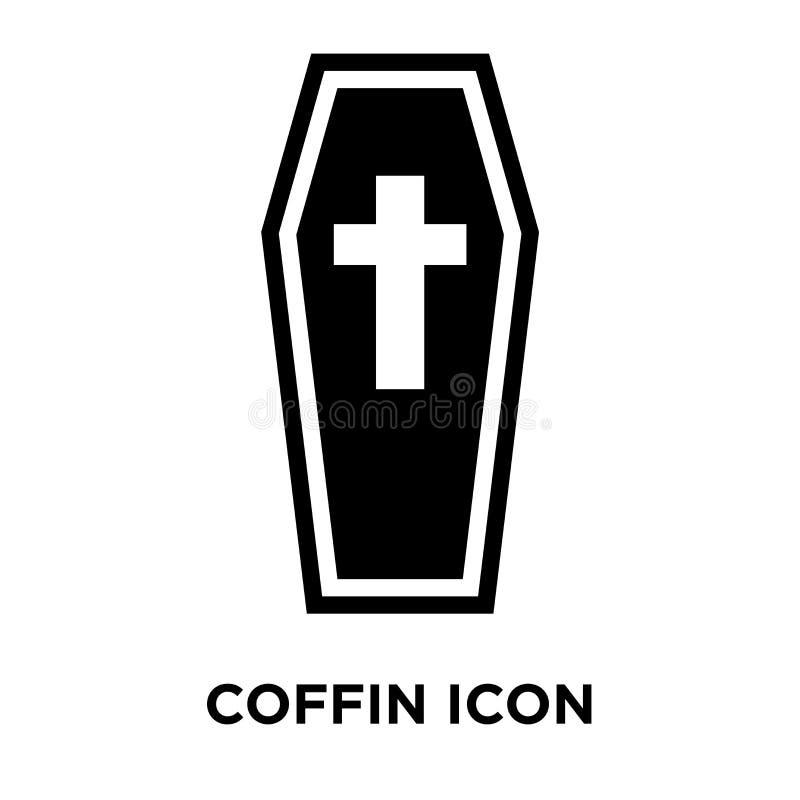 Vettore dell'icona della bara isolato su fondo bianco, concetto di logo di illustrazione di stock