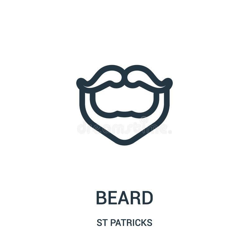 vettore dell'icona della barba dalla raccolta dei patricks della st Linea sottile illustrazione di vettore dell'icona del profilo illustrazione di stock
