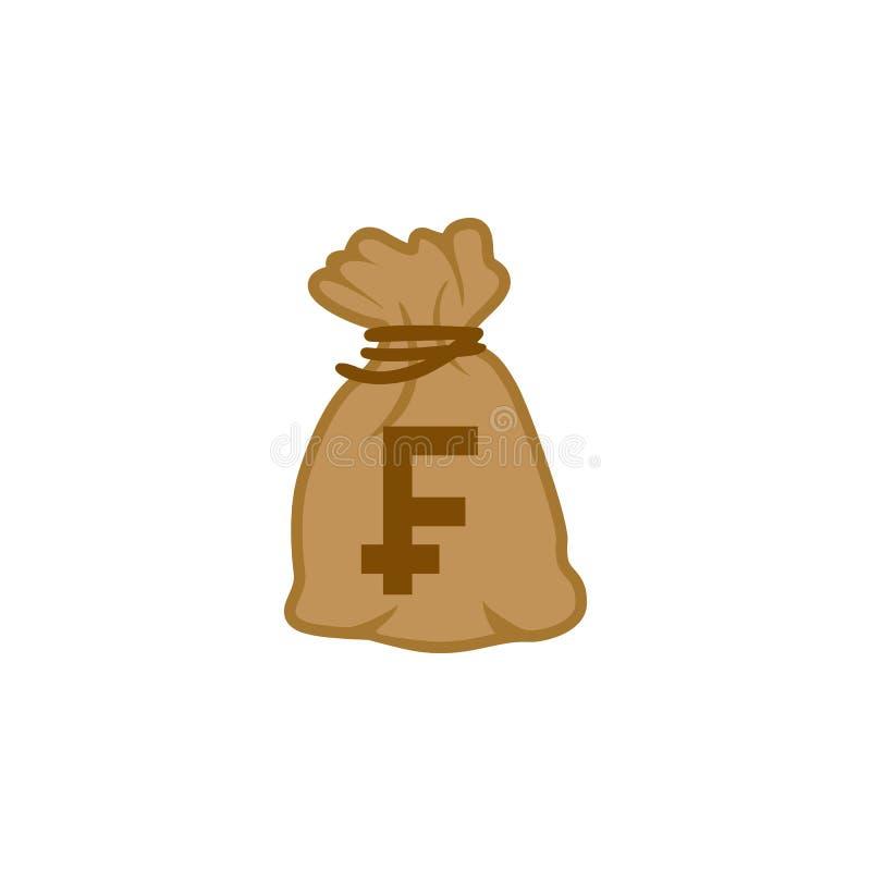 Vettore dell'icona della borsa dei soldi di valuta superiore Franc France del mondo illustrazione di stock