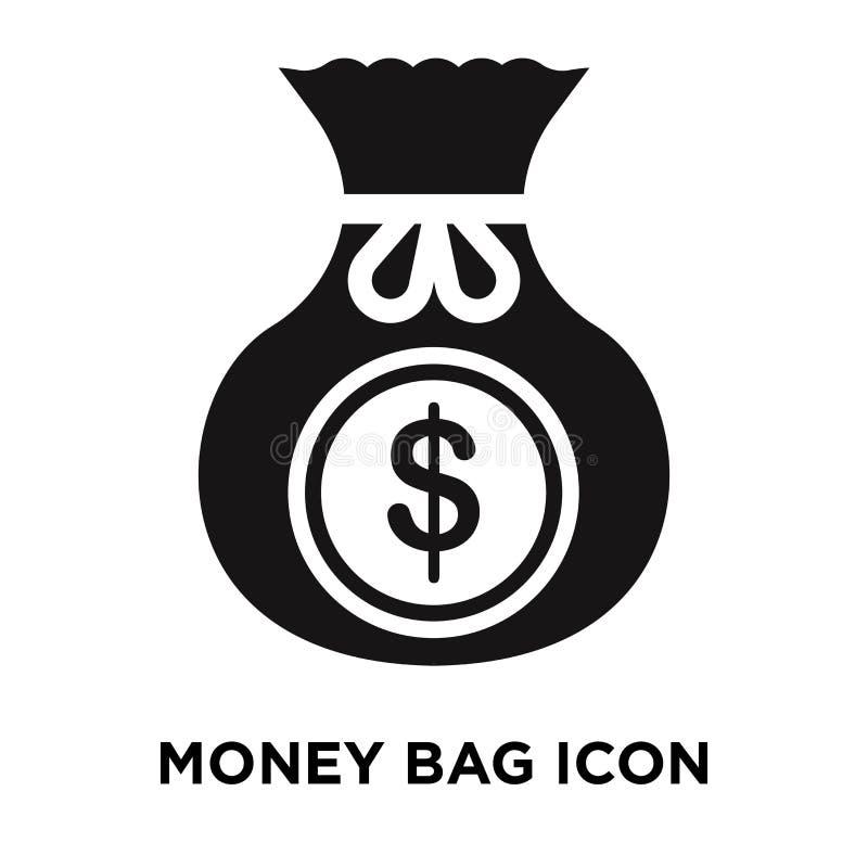 Vettore dell'icona della borsa dei soldi isolato su fondo bianco, concetto di logo illustrazione di stock