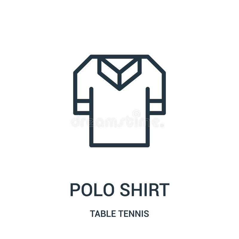 vettore dell'icona della camicia di polo dalla raccolta di ping-pong Linea sottile illustrazione di vettore dell'icona del profil illustrazione di stock