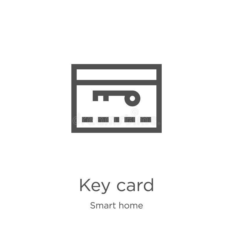 vettore dell'icona della carta chiave dalla raccolta domestica astuta Linea sottile illustrazione di vettore dell'icona del profi illustrazione di stock