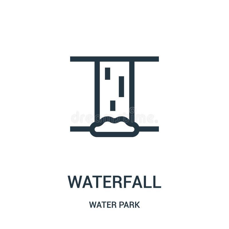 vettore dell'icona della cascata dalla raccolta del parco dell'acqua Linea sottile illustrazione di vettore dell'icona del profil illustrazione di stock