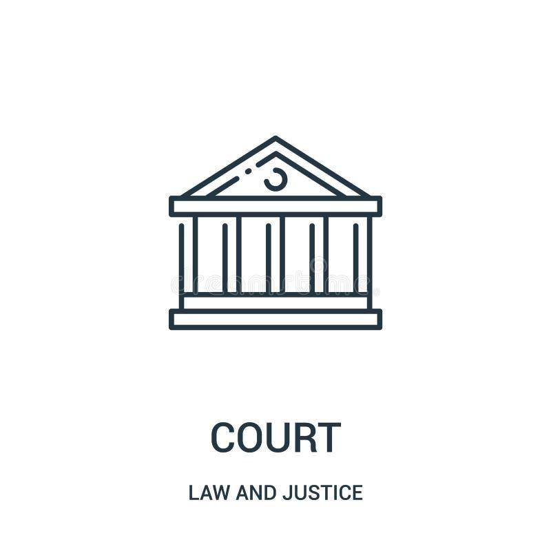vettore dell'icona della corte dalla raccolta della giustizia e di legge Linea sottile illustrazione di vettore dell'icona del pr illustrazione vettoriale