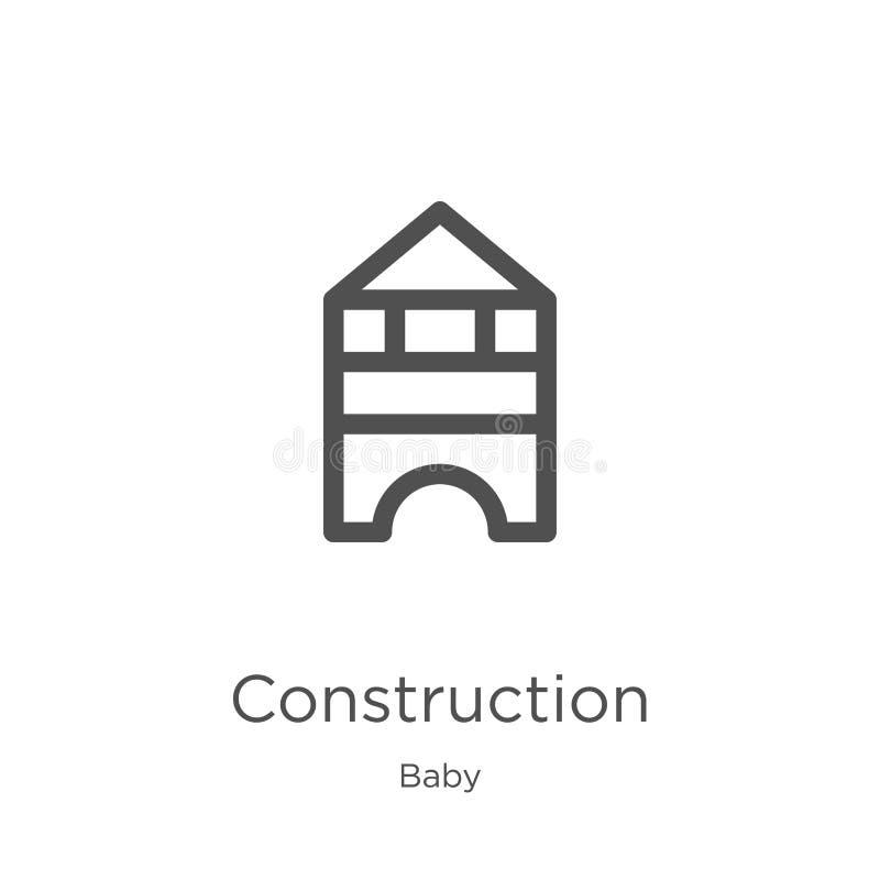 vettore dell'icona della costruzione dalla raccolta del bambino Linea sottile illustrazione di vettore dell'icona del profilo del illustrazione di stock