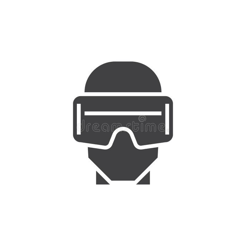 Vettore dell'icona della cuffia avricolare di realtà virtuale, illus solido di logo di vetro del vr illustrazione vettoriale