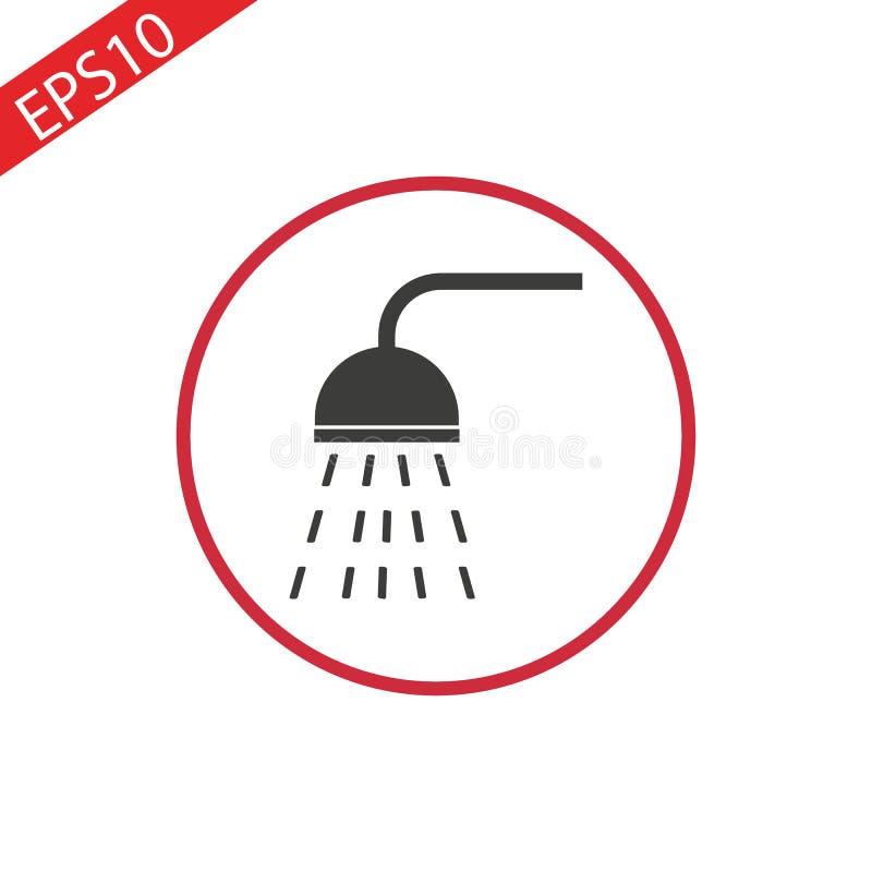 Vettore dell'icona della doccia Illustrazione piana di vettore nel nero su fondo bianco royalty illustrazione gratis
