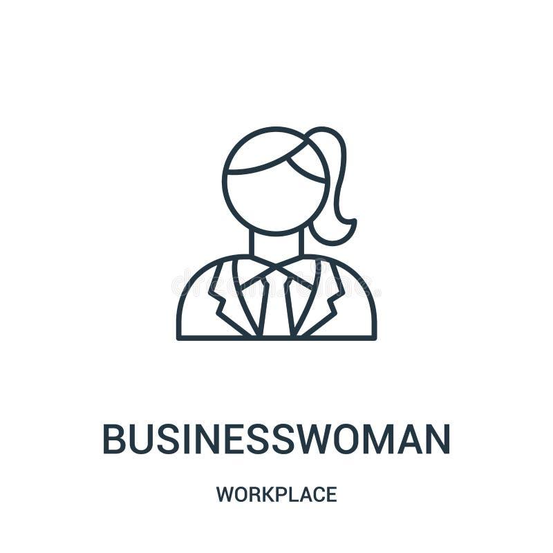 vettore dell'icona della donna di affari dalla raccolta del posto di lavoro Linea sottile illustrazione di vettore dell'icona del illustrazione vettoriale