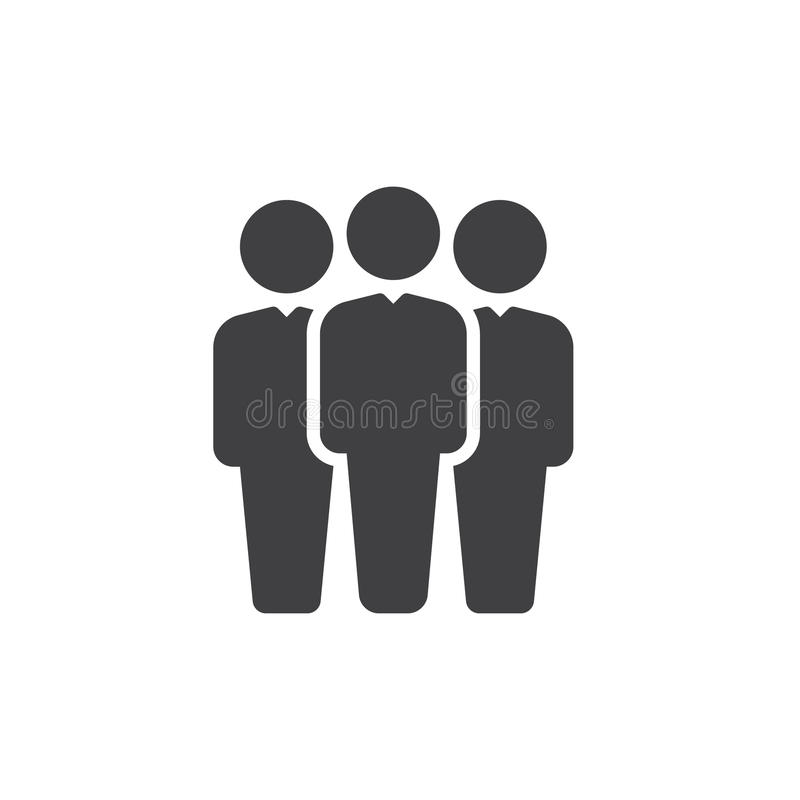 Vettore dell'icona della gente, segno piano riempito, pittogramma solido isolato su bianco Simbolo del leader della squadra, illu illustrazione vettoriale