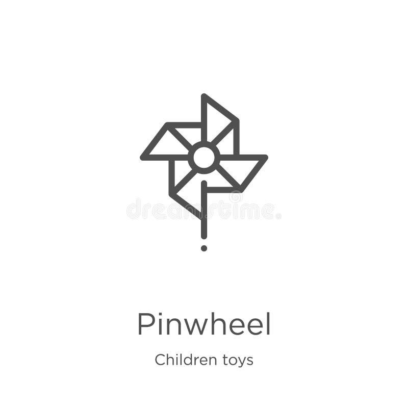 vettore dell'icona della girandola dalla raccolta dei giocattoli dei bambini Linea sottile illustrazione di vettore dell'icona de illustrazione di stock